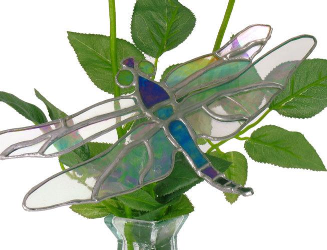 Décoration de vase à fleurs en vitrail représentant une libellule