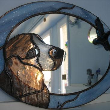 Miroir d'un chien de chasse création unique et originale
