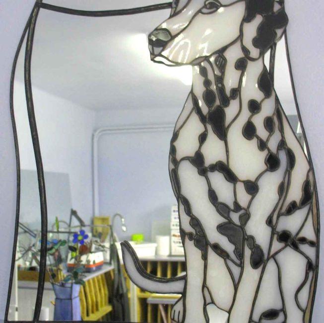 Miroir portrait animalier personnalisé et unique (dalmatien)