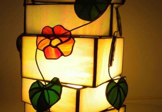 Lampe luminaire en vitrail pour décoration d'intérieur orignale style zen