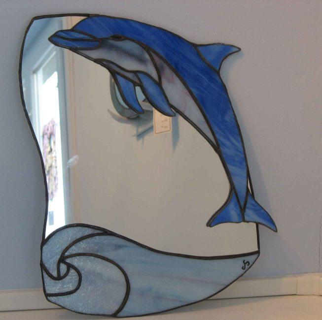 Miroir dauphin en verre décoration d'une chambre d'enfant