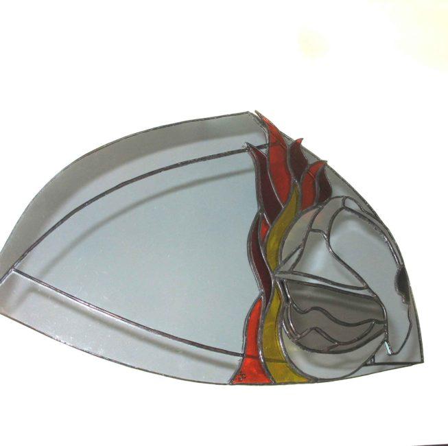 Miroir vitrail personnalisé cadeau unique pour un pompier