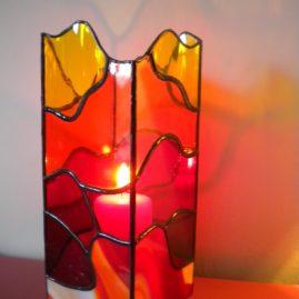 Photophore de grande dimension en vitrail Tiffany pour décoration personnalisée